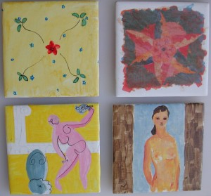 Gouache on tile. 6x6 inches each.